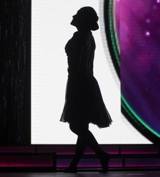 Sarah Tubbs prepares to perform a heartfelt lyrical dance.
