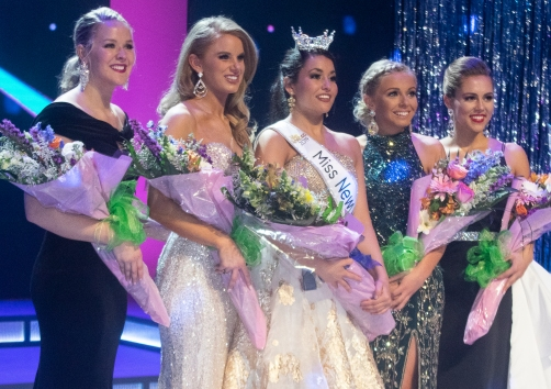 The queen and her court: Miss New Hampshire Sarah Tubbs and the top five.