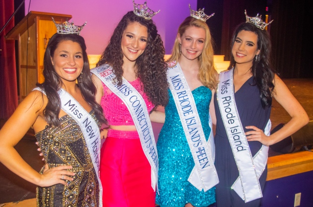 (L-r) Miss New Hampshire Sarah Tubbs, Miss Connecticut's Outstanding Teen Lindiana Frangu, Miss Rhode Island's Outstanding Teen Caroline Parente and Miss Rhode Island Molly Andrade.